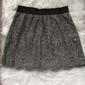 J. CREW Floral Lace Grey Skirt